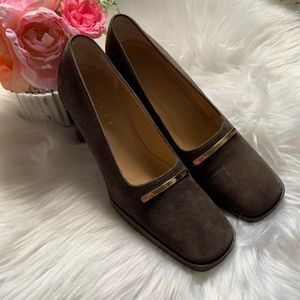 Gucci, brown suede/leather stacked heel shoes, 5.5
